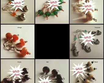 GIFT SET OPTION - Make Art Yarn into Set w. Project Bag + Set of Stitch Markers. Brown, Green, White, Orange, Turquoise, Purple, Red, Black