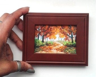 """Mini Oil Painting Fall, Oil on Canvas Paper 2.5""""x 3.5"""", Framed to 3.5"""" x 5"""" READY to SHIP"""