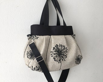 Cross Body Pleated Bag (SMALL or MEDIUM) w/ Adjustable Strap - Dandelion Black Denton