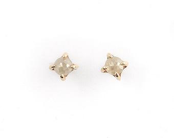 14k Gold and 4mm White Diamond Stone Warrior Studs   14k Gold and White Rose Cut Diamond Earrings