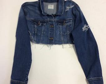 Tattered Cropped Vintage  denim jacket