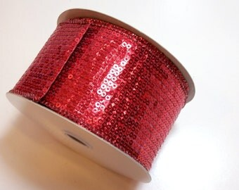 Red Ribbon, Red Sequin Wired Fabric Ribbon 2 1/2 inches wide x 10 yards, Offray Flashie Christmas Ribbon