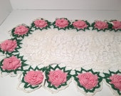 Beautiful Hand Crocheted Rose Table Runner