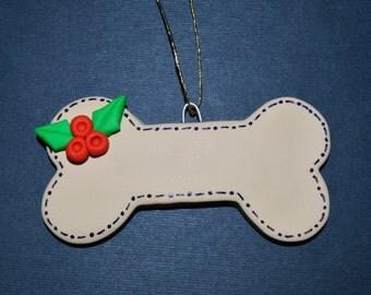 Dog Bone Polymer Clay Christmas Ornament Personalization