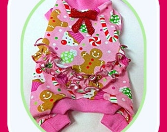 Pet Clothing Christmas  Sweet and Simple Stylish Pajamas with Ruffle To Order with Spoonflower Fabric