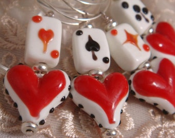Hearts and Cards Wine Charms - Set of 4 Charms