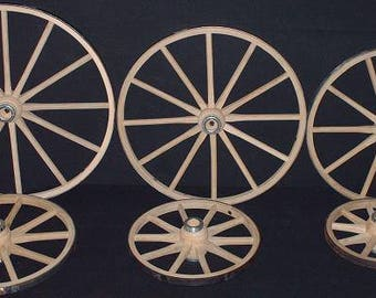 Amish Handcrafted Steam Bent Hickory Wood Wagon Wheel or Cart Wheel