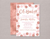 Rose Gold Baby Shower Inv...