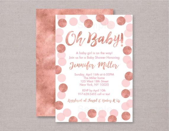 Rose gold baby shower invitation glitter dots glitter confetti il570xn filmwisefo