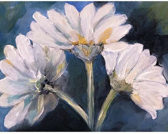 Acrylic Painting Miniature Painting ACEO Daisies Floral Flowers