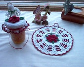 Rose Potholder and Jar Lid Cover Crochet Thread Art Custom Order for Rhonda rhondahhartwig395