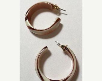 Brown and White Vintage Lucite Hoop Pierced Earrings