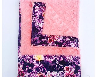 BABY GIRL BLANKET / Purple roses satin print with soft plush coral minky, Minky baby blanket, Unique baby shower  gift/ baby gift