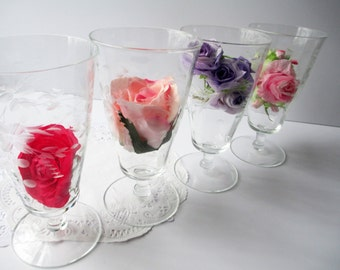 Vintage Crystal Parfaits Champagne Floral Etched Set of Four - Elegant Decor