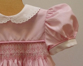 Holiday Sale Pink White Gingham Hand Smocked Dress 18 - 24  month Ready to Ship