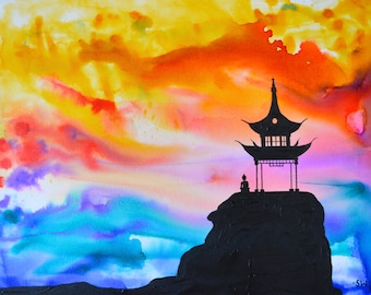 Sunset Pagoda Original Oil and ink painting, 14x18, texture, silhouette, canvas, zen, rainbow, pagoda, chakra
