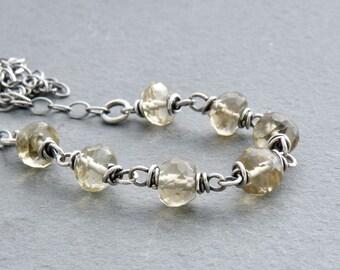 Lemon Quartz Necklace, Sterling Silver, Pale Yellow Green Stone Necklace, Sterling Silver Chain, Wire Links, Yellow Quartz Stone 4732