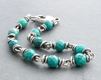 Faceted Turquoise Gemstone Bracelet with Sterling Silver Wire Wrapped Links and Clasp; December Birthstone, #4745