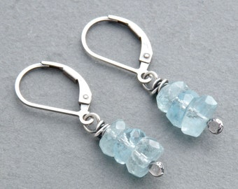 Aquamarine Birthday Earrings, March Birthstone, Blue Dangle Earrings, Sterling Silver Lever Backs, #4773