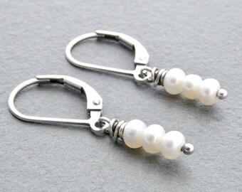 June Birthstone, Pearl Earrings, Sterling Silver, Pearl Jewelry, Pearl Birthstone, Lever Back Ear Wires, Dangle Earring, #4775