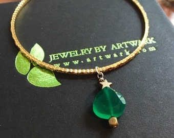 Christmas tree Grade A green faceted onyx pear heart briolette gold star bangle charm bracelet