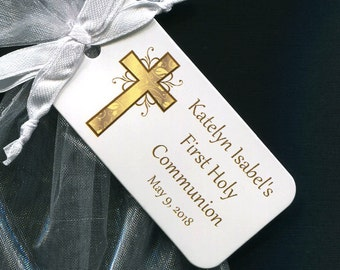 First Communion Favor Tags - First Communion Tags - Personalized - Gift Tags - Personalized Favor Tags - Gold Cross - Thank You Tags