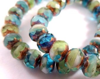 25 Czech Glass Bead 7x5mm Aqua Rondelle Olive White Picasso Transparent Opaque Bronze Picasso Beads Mix 7x5mm Hole 1mm - 25 pc - G6036-AOW25