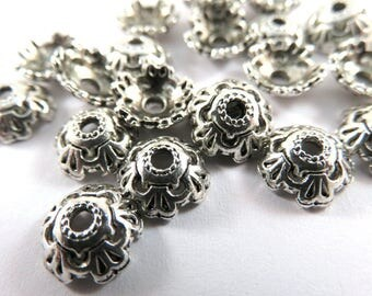 25 Antique Silver Bead Caps 5 Petal Domed Flower Tibetan Style 8x3mm Large 2mm Hole - 25 pc - F4198BC-AS25