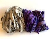 Silk Sari Ribbon, Gray/Green & Purple Berry  Recycled Sari Ribbon, 10 Yards