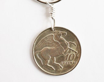 Pegasus Keychain, Greek Coin Keychain, Phoenix Coin Keyring Greek Mythology Pegasus Key Ring Phoenix Keychain, Greek Coin by Hendywood KCE12