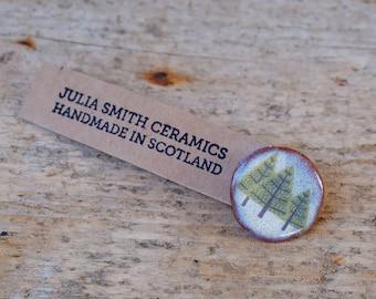 Ceramic Pine Tree Brooch