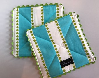 Lime Dot + Turquoise Pot Holder, Set of 2