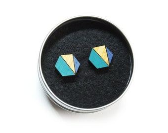 Hexagon Earrings, Geometric Earrings, Hexagon Jewellery, Geometric Stud Earrings, Blue Earrings, Blue Geometric Earrings, Gift For Her
