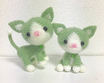 The Twin Cat / Amigurumi Cat / Crocheted Cat --- A Set of 2 - Green Tea