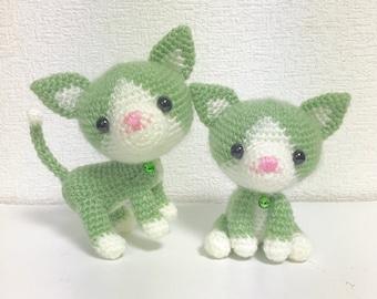 The Twin Cat / Amigurumi Cat / Crocheted Cat --- A Set of 2 - Green Tea
