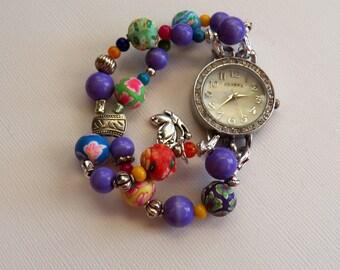 Multi-Colored Women's Beaded Bracelet Watch, Watches Beads, Bracelet Watch, Changeable Bands, Blu, Purple, Green, Yellow Orange , Funky