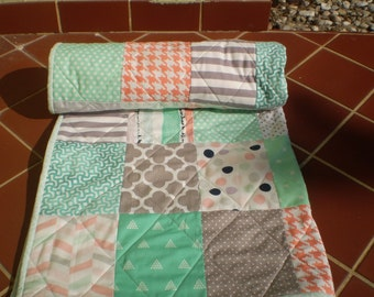 Handmade Baby quilt, baby girl quilt, baby girl bedding, patchwork crib quilt, coral, mint green, grey, peach, chevrons, dots, Peach Cobbler