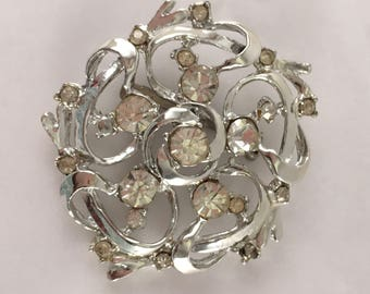 Spiral floral rhinestone bling steampunky clockwork vintage silver silvertone brooch pin with clear probg set stones