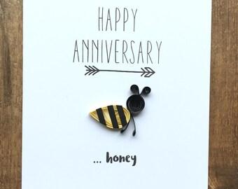Quilled HONEY BEE Card - Happy Anniversary Honey