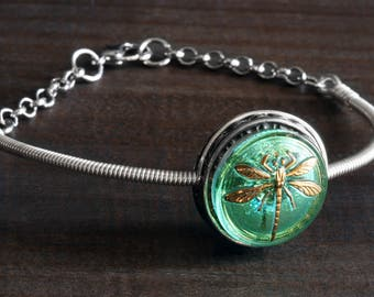Dragonfly Bracelet, Green dragonfly