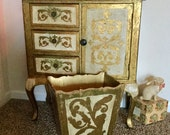Italian Florentine Waste Basket Trash Can Large Sized