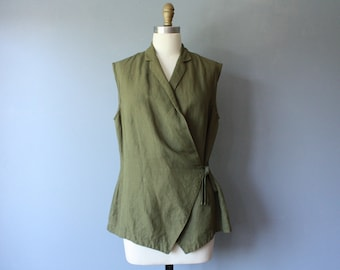 vintage sage kimono blouse / green wrap blouse / side tie sleeveless shirt