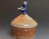 Blue Bird Jar. Soda Fired Stoneware Pottery