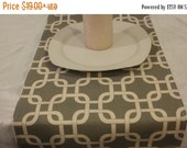 ON SALE TODAY Modern Table Runner Grey and Natural  or grey and white, Cage, Chain Print, Table Runner