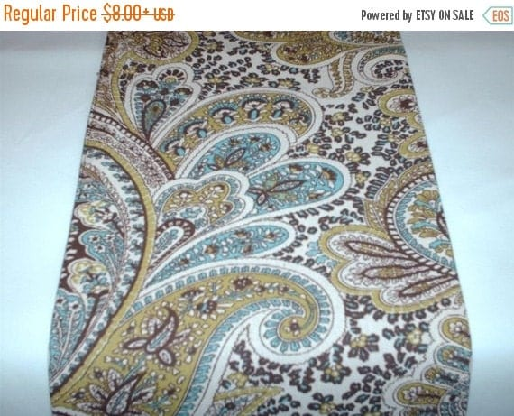 ON SALE TODAY Paisley Table Linens  Chocolate Brown and Tan Paisley Table Runner, or Napkins or Placemats With aqua Blue, Sage Green