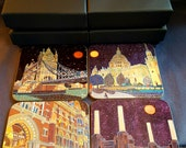 Boxed set of 4 Coasters based on paintings of London Landmarks by Richard Friend
