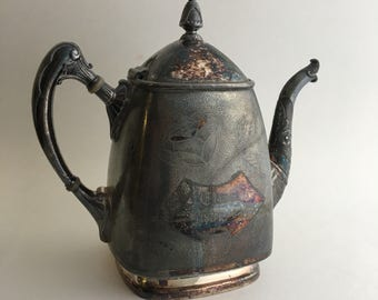 Elmer's Memorial Teapot Vintage 1800s Ornate Silverplate