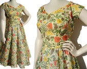 Vintage 50s Dress Summer Yellow Floral Chiffon Party Frock Circle Skirt M / L