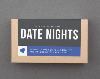 """Date Night Ideas Cards, Jar. Fun, Romantic, Creative Wedding, Anniversary Gift for Parents, Friends, Mom, Dad, Couple. """"Date Nights"""" (L5DAT)"""
