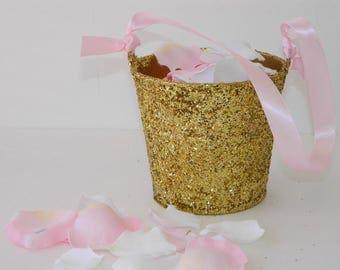"Flower Girl Basket + Gold Glitter Flower Girl Basket with ribbon Handle (4 1/2"" x 4 7/16""x 3 3/8"")"